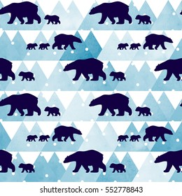 Cute seamless pattern with winter polar bear. Mother and her child. Watercolor mountains in the background. Cute children pattern. Perfect for background paper or textiles.