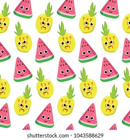 Cute Seamless Pineapple and Watermelon Design on White Background