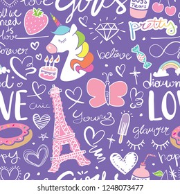 Cute seamless repeating pattern texture with unicorn, Eiffel Tower, hearts / Vector illustration design for fashion fabrics, textile graphics, wallpapers etc