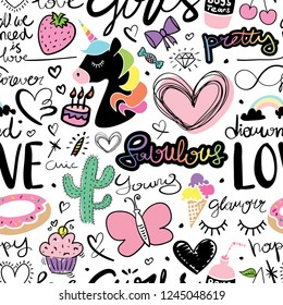 Cute seamless repeating pattern / Unicorn, hearts, cactus, hand letterings doodle drawing set texture design for fabrics, textile graphics, t shirts, prints, stickers etc