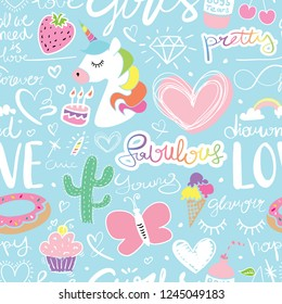 Cute seamless repeating pattern / Unicorn, hearts, hand letterings doodle drawing set texture design for fabrics, textile graphics, t shirts, prints, stickers etc