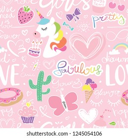 Cute seamless repeating pattern / Unicorn, hearts, cactus, butterfly, rainbow, hand letterings doodle drawing set texture design for fabrics, textile graphics, t shirts, prints, stickers etc