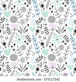 Cute seamless romantic vector floral pattern