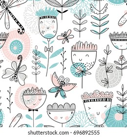 Cute seamless romantic vector floral pattern with dragonflies and butterflies
