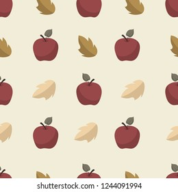 Cute seamless Scandinavian pattern with red apples and autumn leaves. Beige background. Flat cartoon style vector illustration.