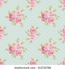 Cute Seamless Shabby Chic Pattern With Roses And Polka Dots Ideal For Kitchen Textile Or Bed