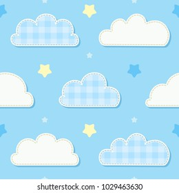 Cute seamless sky pattern with clouds and stars. Children's bedroom, baby nursery decorative wallpaper. Vector Illustration.