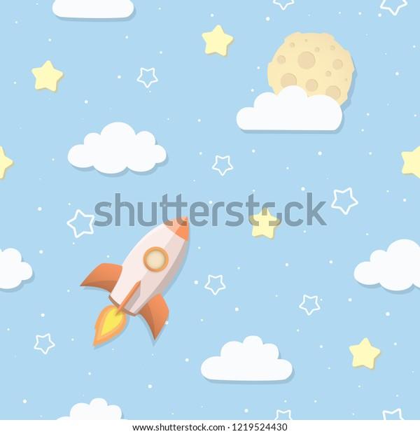 Nahtloses Himmelsmuster mit Vollmond, Wolken, Sternen Stock ...