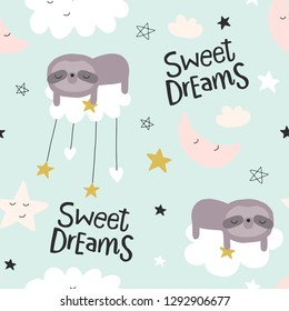 Cute seamless sleeping magic clouds for kids, baby apparel, fabric, textile, wallpaper, bedding, swaddles, Scandinavian style for clothes, swaddles, apparel, planner, sticker