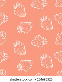 cute seamless strawberry pattern in vector