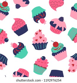 Cute seamless texture with a cupcakes on white background