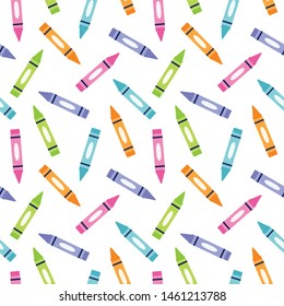 Cute seamless vector background for girls with minimal crayons pattern in pink, orange, purple and green. For Back to School, education wallpaper, flyer, poster, textiles, gift wrapping paper.