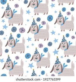 Cute Seamless Vector Pattern of adorable doggies.