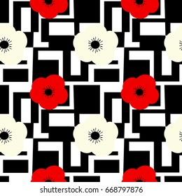 cute seamless vector pattern background illustration with flowers on black and white abstract geometric shapes