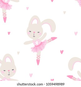 cute seamless vector pattern with bunny little girl ballerina, can be used for baby or kid wear design