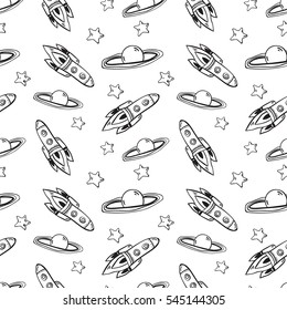 Cute seamless vector pattern with lovely  stars, planets, moon and rockets. Kids wallpapers, hand drawn funny background. Could be used for coloring book, textile print, wrapping paper.