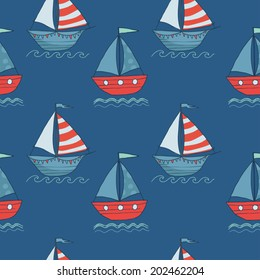 Cute seamless vector pattern with ships on blue background