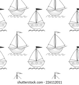 Cute seamless vector pattern with ships on white background