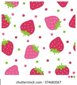Cute seamless vector pattern with strawberries and dots