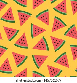 Cute seamless vector pattern with watermelons on yellow background