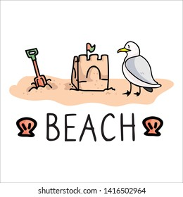 Cute seaside holiday typography cartoon vector illustration motif set. Hand drawn isolated seagull sandcaslte elements clipart for sea shell blog, spade graphic, ocean web buttons.