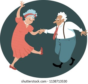 Cute senior citizens couple dancing, EPS 8 vector illustration