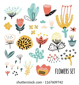 Cute set of abstract flowers. Children's style - insects and plants. Scandinavian style. Vector illustration.