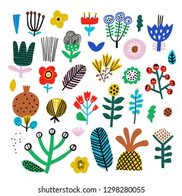 Cute set of abstract flowers. Scandinavian style. Vector set.