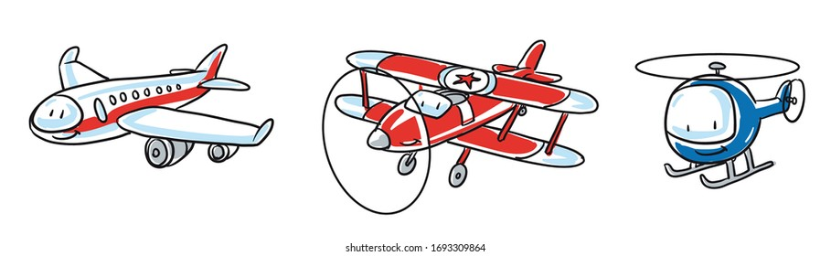 Cute set of aircrafts, airplane, helicopter, biplane. Hand drawn cartoon sketch vector illustration, whiteboard marker style coloring.
