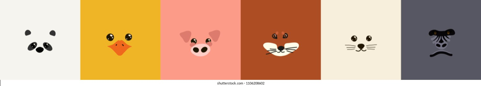 Cute  set of animal faces