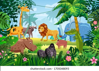 Cute Set Animals in Jungle tropical rainforest background landscape. Lion, giraffe, gorilla, hippo, elefant, buffolo, crocodile, warthog pig. Palm trees exotic flora flowers. Vector isolated cartoon