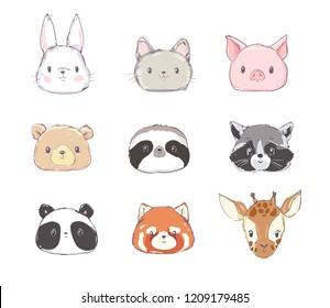 Cute Set Animals Vector Illustration, Rabbit, Bear, Panda, Cat, Sloth, Red Panda, Pig, Raccoon, Giraffe