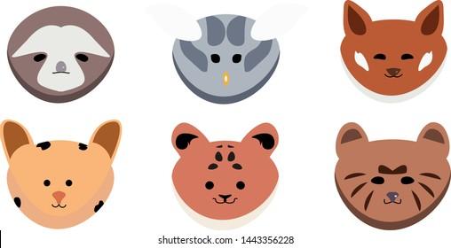 Cute set of animals vector illustration Bear, Sloth, Owl, Fox, Tiger, Ocelot,
