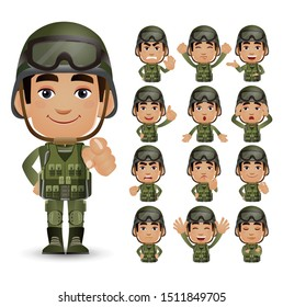 Cute Set - Set of army with different emotion