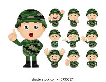 Cute Set - Set of Army soldiers