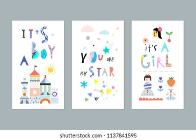 Cute set for baby boy or baby girl. Happy birthday, baby shower for newborn celebration greeting and invitation card. Decorative elements for posters, albums, scrapbook and more. Vector