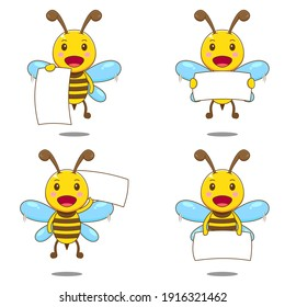 Cute set bee. Vector illustration of chibi character isolated white background