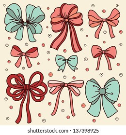 Cute set with bows. Vector illustration