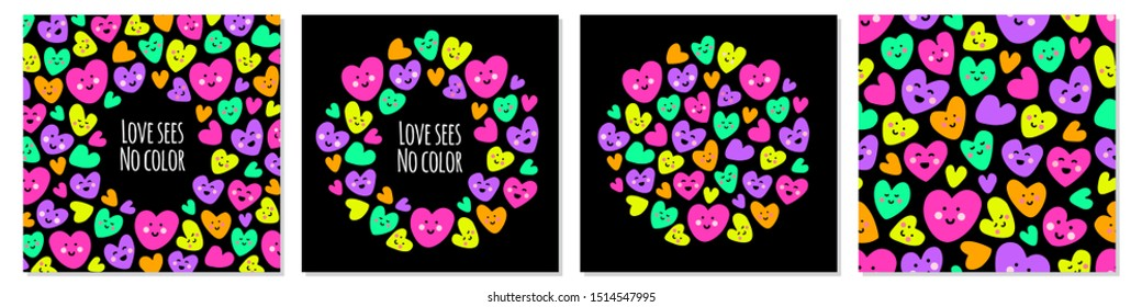 Cute set of bright eye catching Love sees no color backgrounds with funny kawaii cartoon characters of hearts in 80s style, can be used for Valentine's Day card, as banner, for gift box package etc