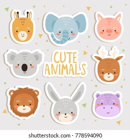 cute set of cartoon animals stickers. cute giraffe, elephant, pig, koala, deer, lion, bunny and hippo stockers