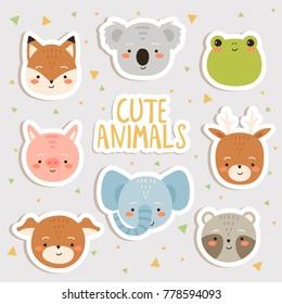 cute set of cartoon animals stickers. cute fox, koala, piggy, elephant, deer, dog and raccon stickers