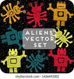 Cute set of cartoon hand drawn aliens or kind three-eyed monsters, doodle funny line style set. Red, blue, yellow and orange funny  many-armed Martians. Design for kids.