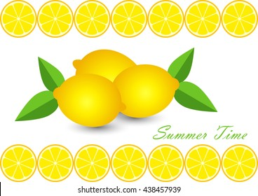 cute set with cartoon lemon and lemon slices