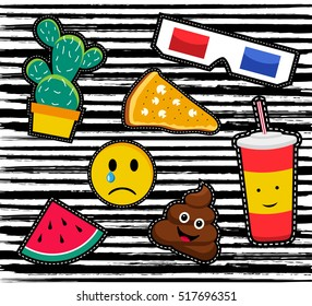 Cute set of cartoon patch designs, colorful illustrations for sticker decoration or embroidery. EPS10 vector.