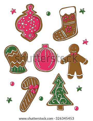 Cute Set Christmas Cookies Isolated On Stock Vector (Royalty Free ...