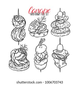 Cute set of different canapes. hand-drawn illustration