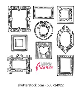 cute set of a different pictures frames. hand-drawn illustration