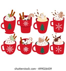 cute set with eight illustration of mugs with hot cocoa or coffee, cream, ginger cookies on white background. can be used for greeting cards, party invitations, posters or like stickers