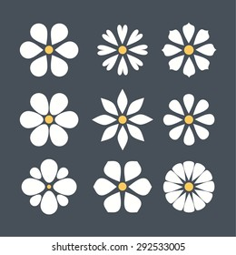 cute set of flat color icon flower.  isolated. design for stickers, labels, tags, gift wrapping paper.