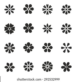 cute set of flat icon flower.  isolated. design for stickers, labels, tags, gift wrapping paper.